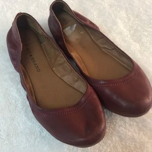 Lucky Brand Emmie Red Leather Ballet Flats. 6.5